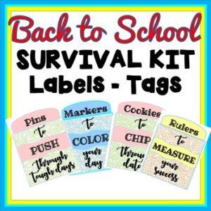 Back to School Teacher Survival Kit Labels or Teacher Appreciation Week Tags