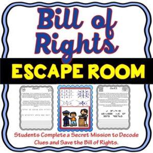 Bill of Rights ESCAPE ROOM – Amendments to the U.S. Constitution: Civics