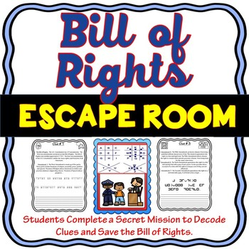 Bill of Rights ESCAPE ROOM – Amendments to the U.S. Constitution: Civics