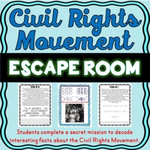Civil Rights Movement ESCAPE ROOM: Black History, Rosa Parks, MLK, Ruby Bridges