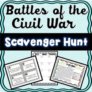 Civil War Battles Scavenger Hunt -Task Cards – Abraham Lincoln