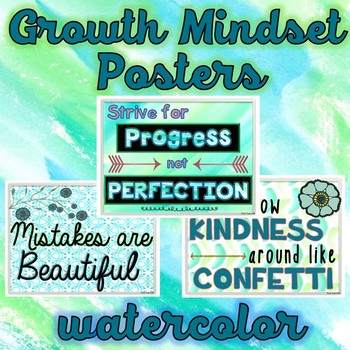 Growth Mindset Posters – Positive Quotes- Watercolor
