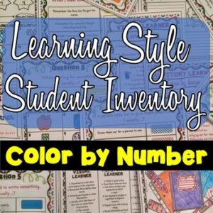Learning Style Student Inventory : Color by Number – Back to School