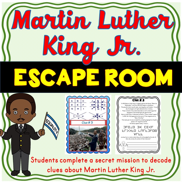 Martin Luther King Jr. ESCAPE ROOM : Civil Rights, Black History or MLK Day