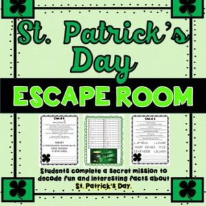 St. Patrick's Day ESCAPE ROOM – March – Print and go!