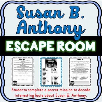 Susan B. Anthony ESCAPE ROOM: Women's Suffrage Movement – Print & Go!
