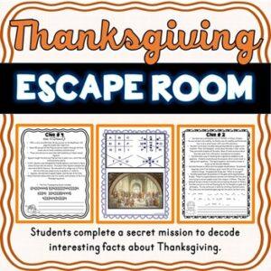 Thanksgiving ESCAPE ROOM- Holiday Fun- November- No Props Needed!