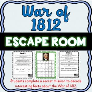 War of 1812 ESCAPE ROOM: James Madison, Impressment – Print & Go!