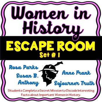 Women in History ESCAPE ROOM! Set #1 – Rosa Parks, Anne Frank and more