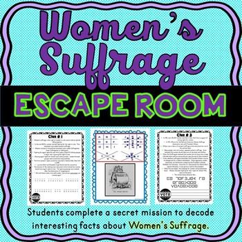 Women's Suffrage ESCAPE ROOM: 19th Amendment – Voting Rights – Print & Go!