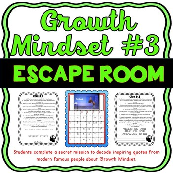 Growth Mindset #3 ESCAPE ROOM Activity: Modern Quotes from Famous Figures
