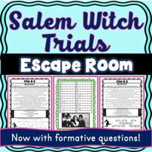 Salem Witch Trials ESCAPE ROOM: New England Colonies Print & Go!