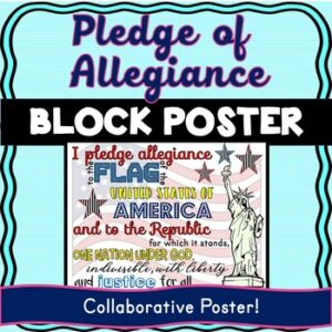 Pledge of Allegiance Collaborative Poster! Back to School – Team Work Activity