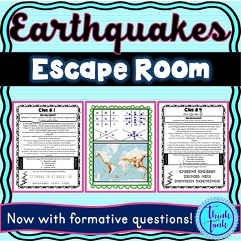 Earthquake Escape Room! Natural Disasters – Earth Science – NO PREP, PRINT & GO!