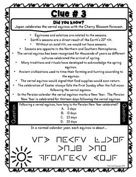 Equinox ESCAPE ROOM! – Earth Science – NO PREP, PRINT & GO!
