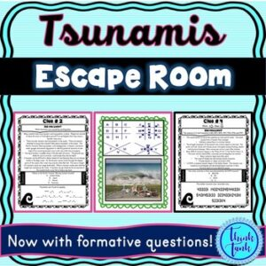 Tsunamis Escape Room! Natural Disasters – Earth Science – NO PREP, PRINT & GO!