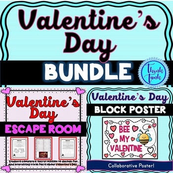 Valentine's Day BUNDLE – Valentine's Escape Room and Collaborative Poster!