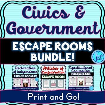 Historical Documents ESCAPE ROOMS BUNDLE! Declaration of Independence & more