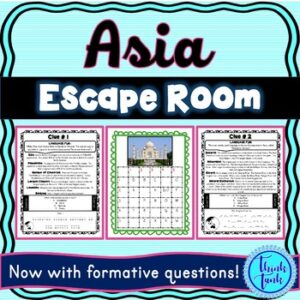 Asia ESCAPE ROOM! Continents and Geography – NO PREP, PRINT & GO!