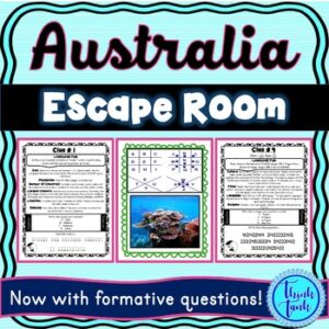Australia ESCAPE ROOM! Continents and Geography – NO PREP, PRINT & GO!