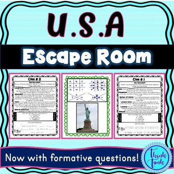 United States ESCAPE ROOM! America and Geography – USA – NO PREP, PRINT & GO!