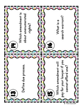 Bill of Rights Scavenger Hunt – Task Cards – Amendments 1-10 – Constitution