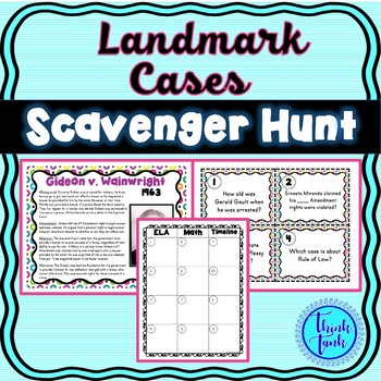 Supreme Court Cases Scavenger Hunt – Brown V Board, Miranda, Gideon, Plessy