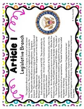 U.S. Constitution Scavenger Hunt -Task Cards – Articles of the Constitution