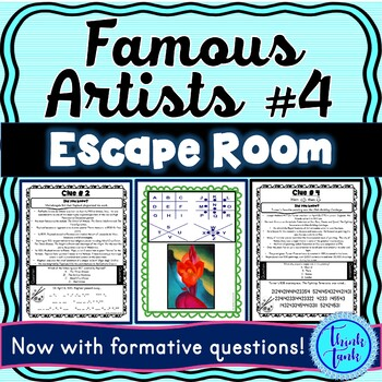 Famous Artists ESCAPE ROOM #4: Raphael, Turner, O'Keeffe, Rembrandt- Print & Go!
