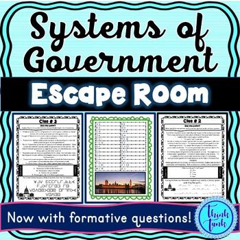 Systems of Government Escape Room! Unitary, Federal, Confederal, Parliamentary