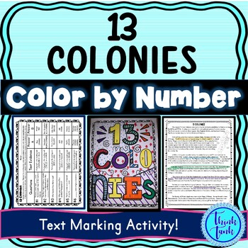 13 Colonies Color by Number, Reading Passage and Text Marking