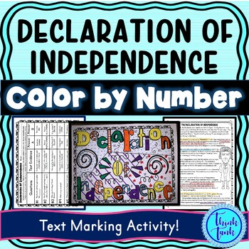 Declaration of Independence Color by Number, Reading Passage and Text Marking