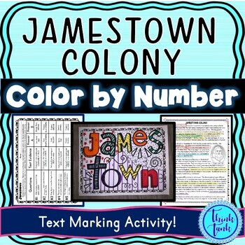 Jamestown Colony Color by Number, Reading Passage and Text Marking