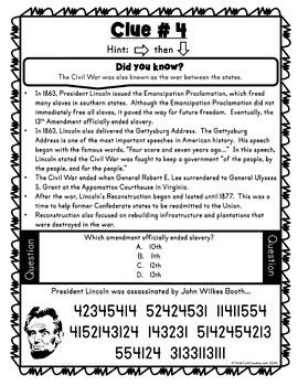 Civil War Escape Room Activity - Abraham Lincoln and Emancipation Proclamation pic 3