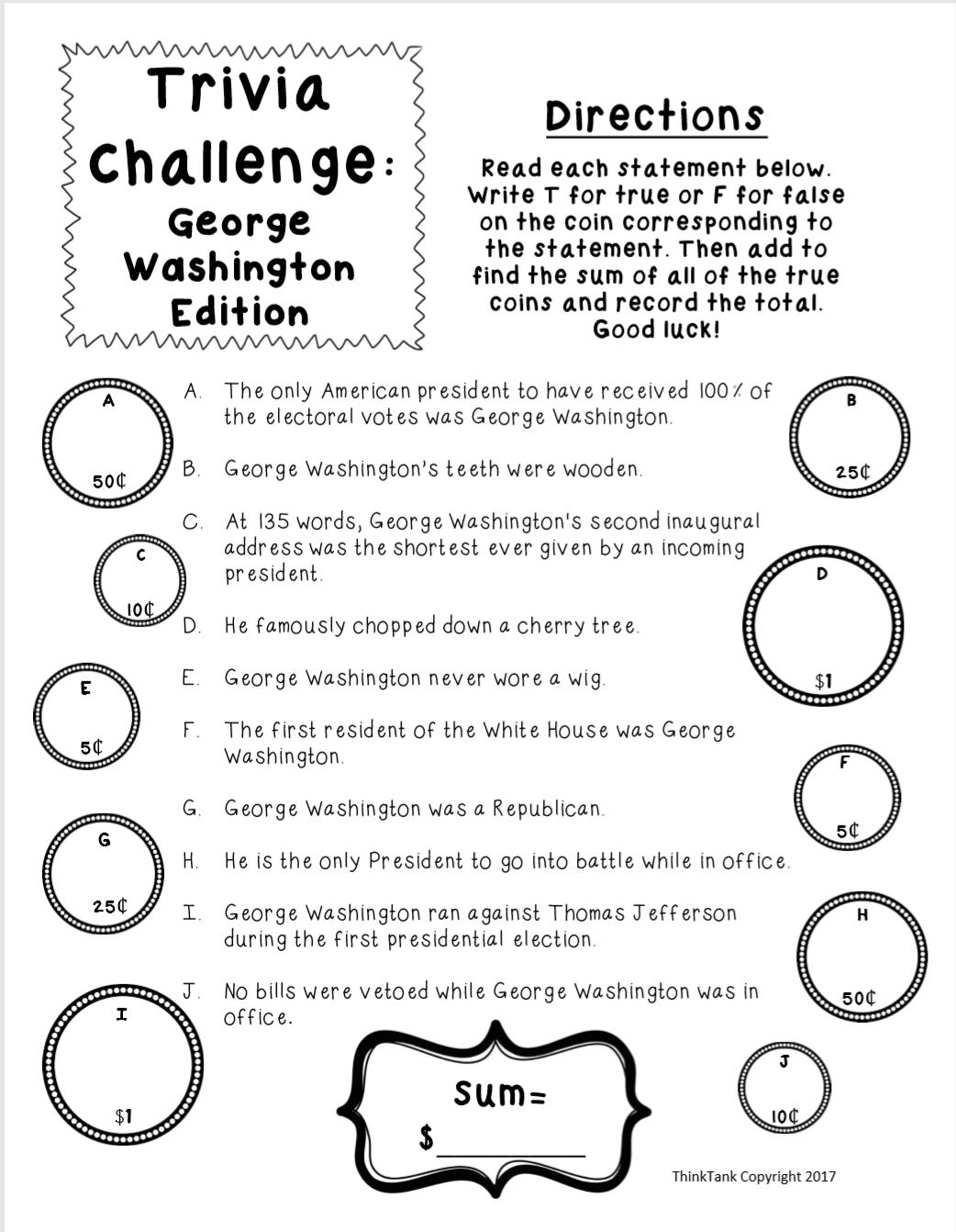 Presidents Day Trivia Challenge for Classroom