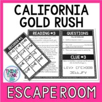 California Gold Rush Escape Room Activity Picture