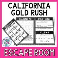California Gold Rush Escape Room Activity Picture
