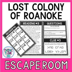 Lost Colony of Roanoke Escape Room Activity picture
